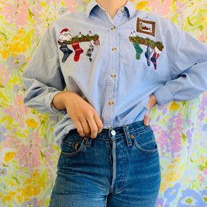 [vintage] Christmas Santa Button Up Stripe Shirt